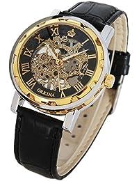 GuTe Reloj de estilo steampunk clásico con mecanismo a la vista, carga manual, unisex