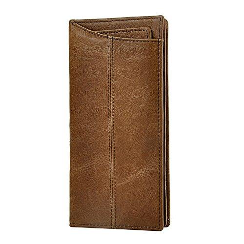 Herrenbrieftasche aus Leder Herrenbrieftasche aus echtem Leder Lange Karten- und Telefonbrieftasche Herrenhandgelenk-Clutch Business Casual Clutch Herrenbrieftasche Business Casual (Color : Brown)