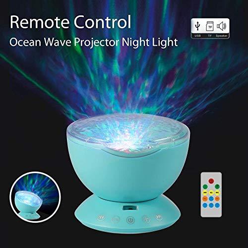 J.R Altman Fernbedienung Ocean Wave Projektor Nachtlicht Lampe mit eingebautem Musik-Player [12 LED Perlen 7 Bunte Lichtmodi] Für Kinder Erwachsene Schlafzimmer Wohnzimmer (H1 Led-projektor-lampe)