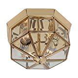 Traditional Style Polished Brass Finish Lantern Style Flush Ceiling Light with Beveled Glass Panels, LED Compatible