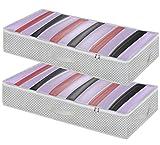Homyfort Set di 2 pieghevole organizzatore armadio - scatole armadio in tessuto - contenitore per armadi - sacchetto di vestiti bagagli - Spazio Borsa Saver per la memorizzazione di abbigliamento, piumini, biancheria da letto, cuscini, coperte, maniglie resistenti, Impermeabile, color crema, X3MR100L