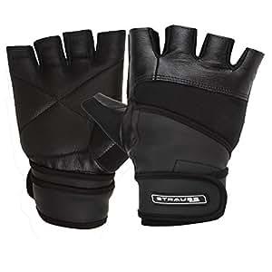 Strauss Leather Finger Cut Gym Gloves With Wrist Wrap (Medium_Black)