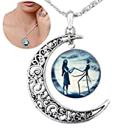 Xiton Necklace Pendant Gift, Jack and Sally Nightmare Before Christmas (Blue)