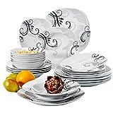 Veweet'Zoey' Servizio da tavola in porcellana Set di stoviglie da 24 pezzi   6 Ciotola di cereali,6 piatti da dessert,6 piatti piani e 6 piatti a base di zuppe. Servizio di cena per 6 persone