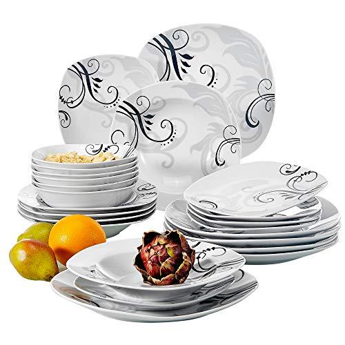 Veweet ZOEY 24pcs Service de Table Pocelaine 6pcs Assiettes Plates 24,6cm, 6pcs Assiette Creuse 21,5cm, 6pcs Assiette à Dessert 19cm, 6pcs Bols à Céréales 17cm Vaisselles pour 6 Personnes Fleuri