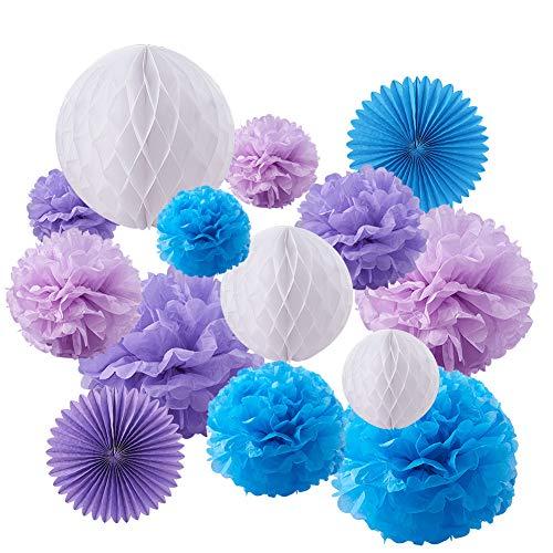 blaues Thema Papier Pom Poms Papier Blumen Papier Laternen Wabenballe Gewebe Fans ¨C Perfekt fur Hochzeit Dekor, Geburtstag, Tisch und Wand Dekoration ()