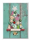 10pezzi stessa biglietti di Natale biglietti di auguri, Natale–albero di Natale su antico in legno verde con busta (n. 10)