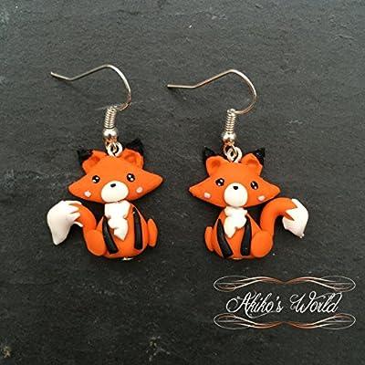 Boucles d'oreilles pendantes renard kawaii en pâte polymère - Bijoux fantaisie renard roux