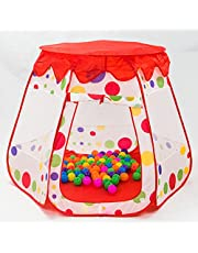 Toyshine Kid's Foldable Castle Ball Pit Indoor Outdoor Pop-up Play Tent House Toy (White and Red)