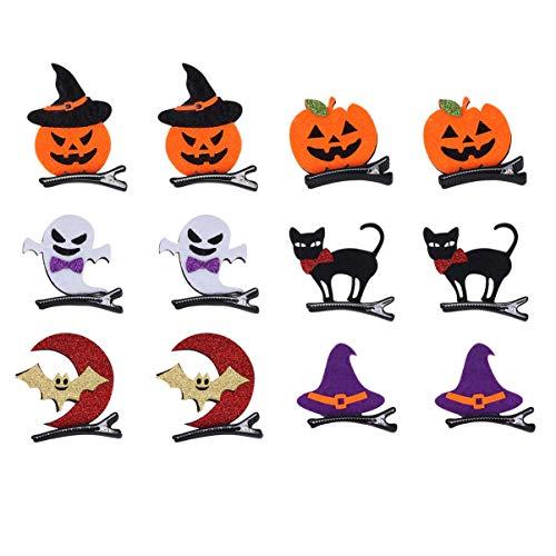 Artibetter 12 stücke halloween haarspangen kürbis geist katze form nette haarspangen haarnadeln für kinder mädchen halloween party haarschmuck