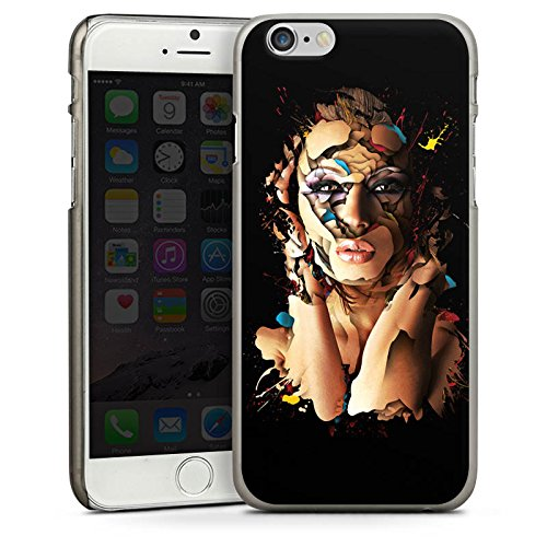 Apple iPhone 5s Housse Étui Protection Coque Femme Femme Visage CasDur anthracite clair