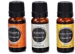 Karma Set of 3, 100% Pure Aroma Therapeutic Essential Oils Jasmine Ylang Ylang Champa 10ml
