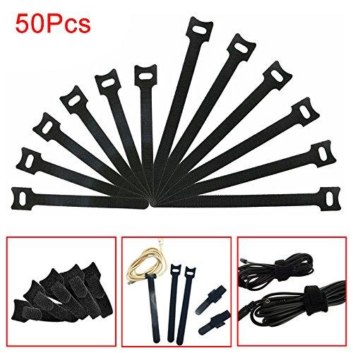 Abilie 50 Stück/Set Kabelbinder, Klettverschluss, wiederverwendbar, Nylon Draht, für Organisationsmanagement