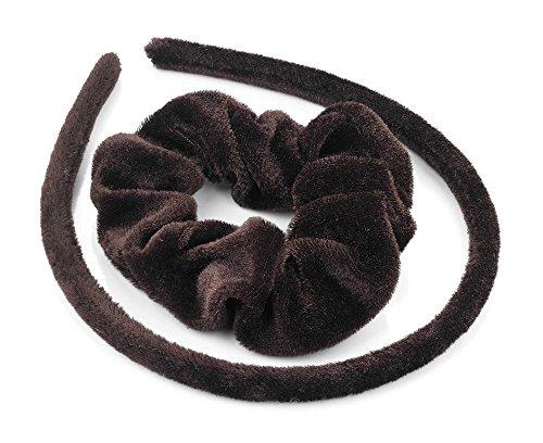 Zwei Stück braun Samt Look Haarband Haargummi Pferdeschwanz Halter Set Schule Alice Band Haar-Accessoires für Mädchen