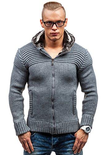 BOLF Herrenpullover Pulli Sweatshirt Sweatjacke Sweater mit Kapuze Reißverschluss COMEOR 313 Anthrazit