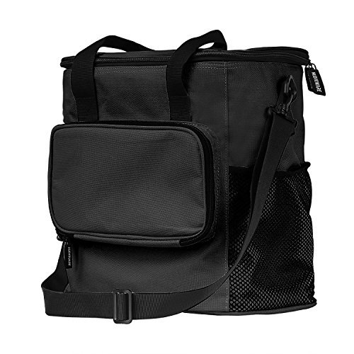 Wärmeisolierte Picknick Tasche, Nuovoware 20L Faltbare Outdoor-Reise Picknick Tasche Weiche Kühltasche Multifunktion Lebensmittel-Container mit Reißverschlusstasche für Camping, Reisen, Wandern, Sport, Schwarz (Tote Korb Handtasche)