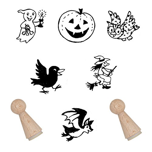 Stempelset Halloween / Stempel mit Kürbis Motivstempel Halloween Stempel zum Verzieren und als Mitgebsel auf der Kinderparty Stempel mit Halloweenmotiven Stempelchen ohne Stempelkissen -