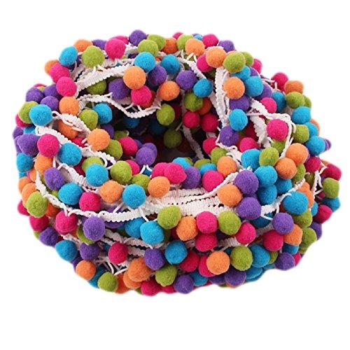 Yalulu 5 Yards Mehrfarbig Pom Pom Pompom Hairball Ball Lace Spitze Quaste Trim Band für DIY Fertigkeit und Dekorieren Nähen Zubehörteil (Weiß)
