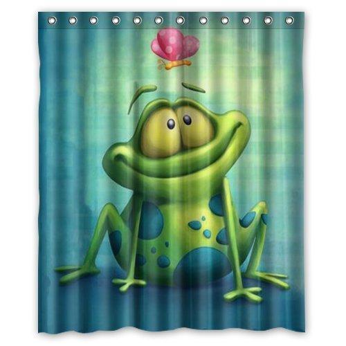 guolinadeou Custom Waterproof Fabric Bathroom Shower Curtain Frog 66x72 IN Green Leopard Snap