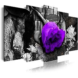 DekoArte Cuadro Moderno de 5 Piezas con Diseño Naturaleza Flor, Tela, Rosa y Morado, 150x3x80 cm