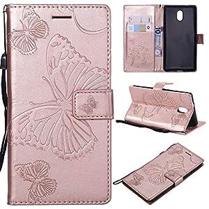 KKEIKO Nokia 3 Hülle, Nokia 3 Leder Handyhülle Schutzhülle [ mit Gratis Panzerglas Schutzfolie ], Schmetterling Muster Stoßsichere Lederhülle Brieftasche Case für Nokia 3