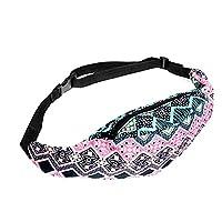 Bum Waist Bag Outdoor Sport Bum Bag Waist Travel Holiday Hiking Bag Aztec Pink [021]