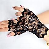 Damenhandschuhe, Blumen-Spitze, fingerlos, elegant, sexy, für Halloween, Kostüme, Junggesellinnenabschied, Party, Hochzeit