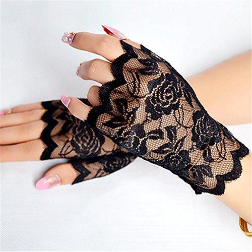 SINOTECH Floral Spitze Fingerlose Damen Handschuhe–Elegantes Sexy Handschuhe für Halloween Fancy Kleider Hen Night Party Hochzeit, Schwarz, 13.5*8.5cm