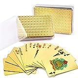 LotFancy LotFancy Goldene Spielkarten 2 Decks wasserdichte Pokerkarten Profi Playing Cards aus 24K Goldfolie für Texas Holdem Poker, Deluxe Kartenspiele