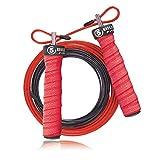 5BILLION Cuerda de Salto de Velocidad - Doblado - Ajustable con Rodamientos de Bolas - Entrenamiento para Los Dobles Unders, WOD, Al Aire Libre, MMA & Boxeo Formación (Rojo)