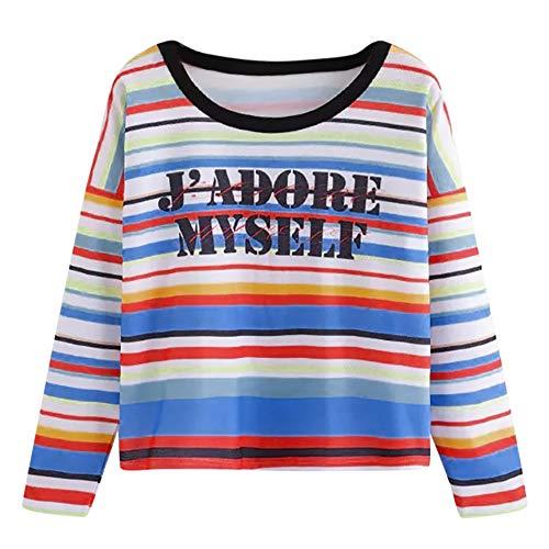 (Dasongff Damen Langarmshirt Regenbogen Block Gestreift Top Schule Mädchen Teen T-Shirts Schulterfrei Sweatshirt Regenbogen Patchwork Sweater)