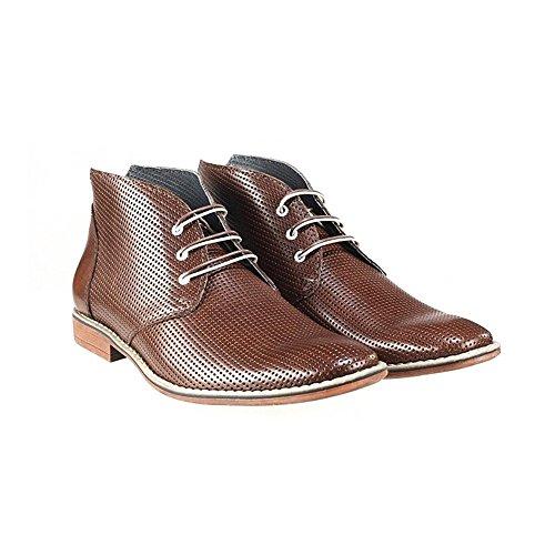 PeppeShoes Modello Gargano - 46 - Handgemachtes Italienisch Bunte Herrenschuhe Lederschuhe Herren Braun Stiefeletten Chukka Stiefel - Rindsleder Geprägtes Leder - Schnüren -