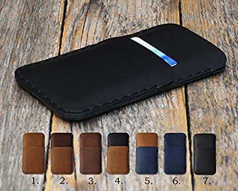 Sony Xperia Leather Wallet with Credit Card Pocket Bovine Leather Cover Personalized Case Sleeve Pouch Shell Monogram your Name or Initials for L1 E5 X Compact Performance X2 XA1 Ultra XA XZ Premium XZs Z1 Z3 Z5 C5 M5 Plus C4 M4 Aqua E4g E4 Z3v