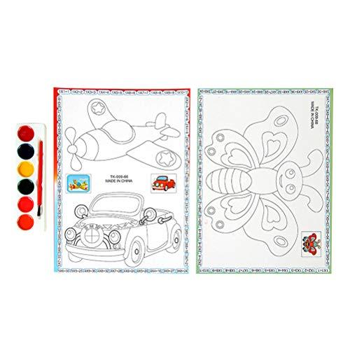 YeahiBaby Flugzeug-Auto-Schmetterling Malbuch Ausmalbuch Malblock Malspaß Färbung Spiel für Kinder Kleinkinder Jungen Mädchen