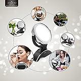 Anjou Kosmetikspiegel Make up Spiegel LED schminkspiegel Beleuchtet mit 7-facher Vergrößerung und Doppelseitiger Vergrößerungsspiegel, 360° Drehbar für Kosmetik und Hautpflege,14LEDs - 9