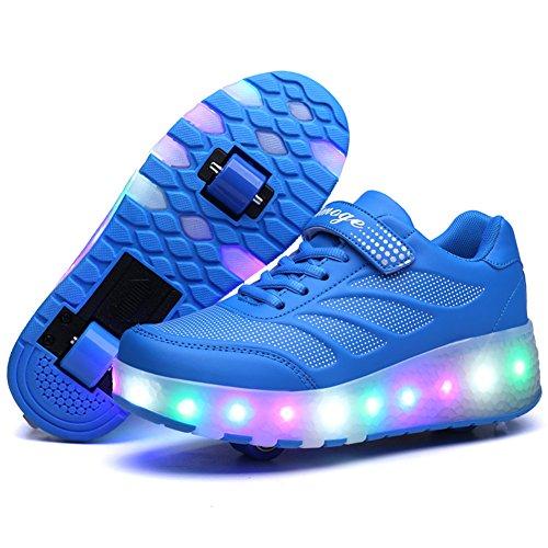 Aizeroth-uk unisex bambino led scarpe con rotelle automatiche skate formatori sportive ginnastica lampeggiante outdoor multisport running sneaker per ragazze e ragazzi (32 eu, yyblu(2ruota))