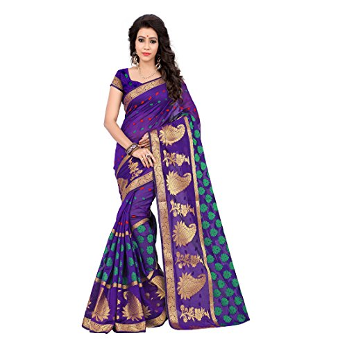 Shree Women's Cotton Silk Saree With Blouse Piece (Multi-Coloured)