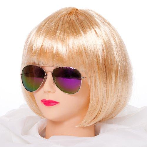 b Afro Perücke Karneval Fasching Kostüm Chique Babe Locken (Bob Blond) (Blonde Irokesen Perücke)