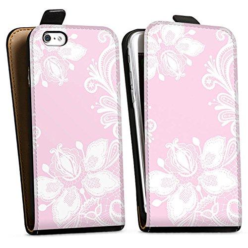 Apple iPhone 5c Silikon Hülle Case Schutzhülle Blumen Spitze Muster Downflip Tasche schwarz