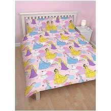 Para niños producto oficial de Disney Character Cartoon impresión Reversible juego de funda de edredón para cama, Diseño de Princesa Disney, doble