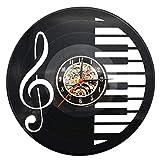 Reloj de pared, Estilo de Tecla del piano & Nota musical, Vintage Reloj, 30 x 30 x 4 cm