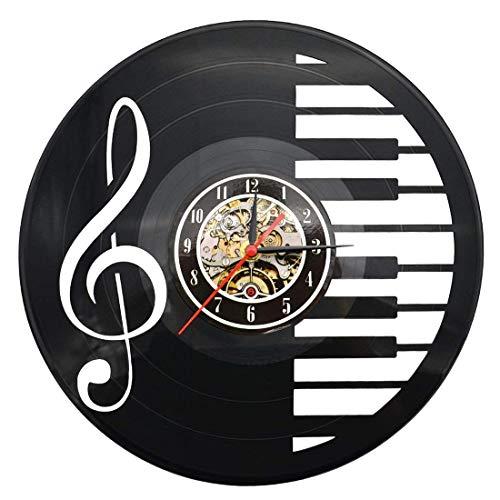 Orologio da Parete - Disco in vinile - Chiave di pianoforte & Nota musicale Decorazione a Muro, 30 cm (Nero)