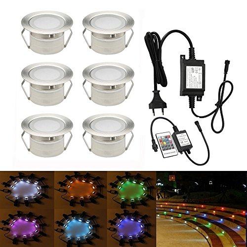 LED Einbaustrahler, 6er Stehleuchte Einbaustrahler Einstellbares Licht (RGB) wasserdicht IP67 1W Ø45mm-Beleuchtung für Terrasse, Terrasse, Weg, Wand, Garten, Dekoration, Innen-und Außenbereich -