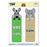 Lot de 2 marque-pages plastifié brillant – Animaux animaux de compagnie Zebra Let's Get Wild About Reading and Elephant Everything but Reading is Irrelephant