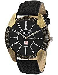 Axe Style X1162KL01 Antique Style Black Color Dial With Black Synthetic Leather Strap Analogue Watch For Men/Boys