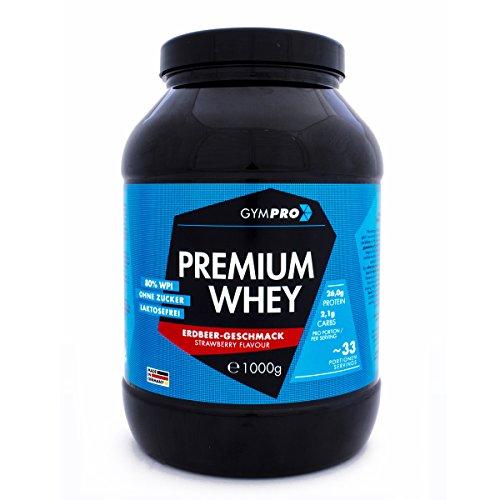 GymPro Premium Whey Protein Pulver zum Muskelaufbau und Abnehmen. Hydrolisiertes Whey Isolat & Whey-Konzentrat Eiweiß mit Aminosäuren (BCAA) laktosefrei - Hergestellt in Deutschland (Erdbeere 1000g)