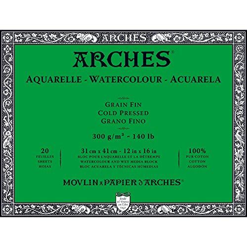 Unbekannt Arches-Bloc para Acuarelas, Madera, Color Blanco, Madera, weiß, 41 x 31 x 1 cm