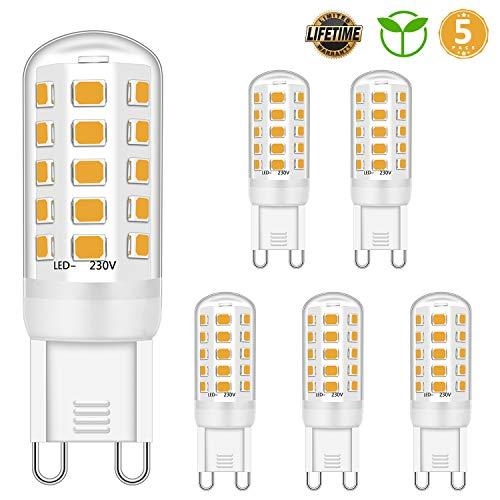 Lampadina a LED G9 5W Equivalente a 28W 33W Lampadine alogene da 40 W, Lampadina a LED G9 Bianco caldo 2700 K, Senza sfarfallio, Non dimmerabile, 420LM, CA 220-240 V, confezione da 5
