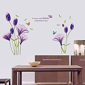 """Wall Sticker, DDLBiz® Adesivi Murales, Carta da Pareti """" fiore viola"""" Decorazione Murali da Parete"""