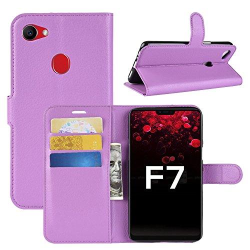HualuBro Oppo F7 Hülle, Premium PU Leder Leather Wallet HandyHülle Tasche Schutzhülle Flip Case Cover mit Karten Slot für Oppo F7 Smartphone (Violett)
